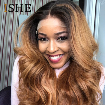Transparent Lace Wigs Honey Blonde Body Wave 13x6 Lace Front Wig Pre Plucked With Baby Hair Ombre Human Hair Wig Remy Hair 150%