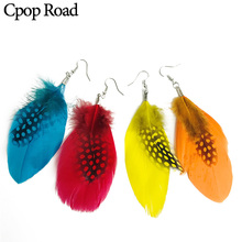 Cpop Boho Ethnic Nature Feather Earrings Beads Colorful Pendant Circle Fashion Jewelry Women Accessories Gifts