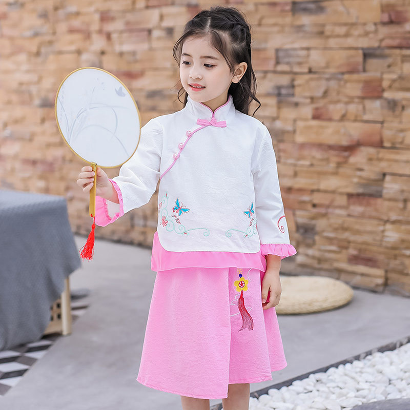 New Style Chinese-style Girls Dress Cheongsam 2019 Autumn Ethnic-Style Children Long Sleeve Chinese Clothing Skirt