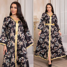 2021 New Arrival Maxi Dress Ramadan Black Abayas Islam Women's Clothing Muslim Fashion Robe Long Turkey Kaftan Arab With Belt