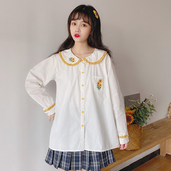 2020 Spring Women White Blouse Peter Pan Collar Sunflower Embroidery Blusas Japanese Preppy Style Cute Kawaii Lolita Girl Tops