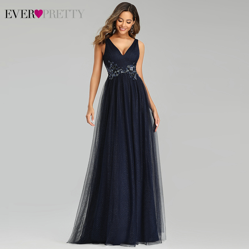 Navy Blue Prom Dresses Ever Pretty A-Line Deep V-Neck Sleeveless Appliques Tulle Elegant Formal Party Gowns Vestidos De Gala