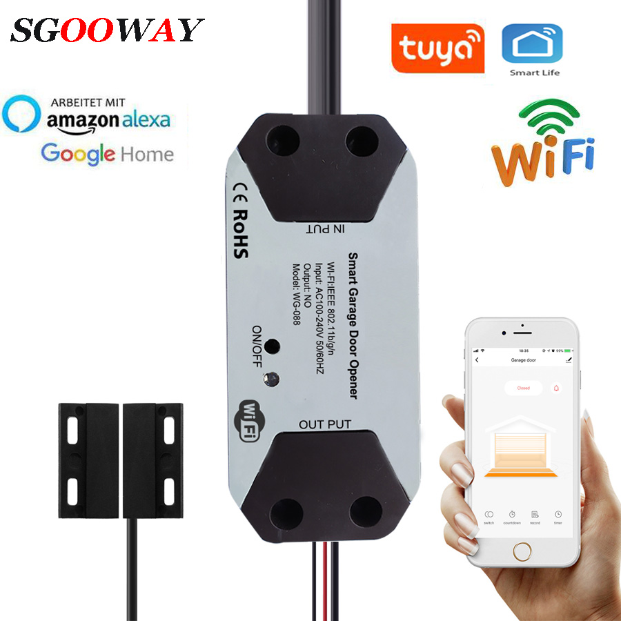 Sgooway  WIFI Garage Door Opener Controller Door Open / Closed Detectors Compatible With Alexa Google Home  Tuya APP