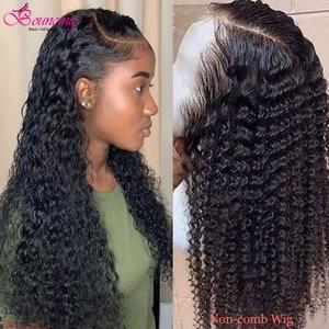 Image 3 - Kıvırcık insan saçı peruk 13x4 derin kısmı şeffaf dantel ön zıplayan saç peruk 8 24 inç kıvırcık 150 yoğunluk remy önceden koparıp peruk