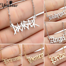 Yiustar Hip Hop DANGER Letters Pendant Necklace Punk Irregular Words Necklaces Stainless Steel Chain Gothic Jewelry Accessories