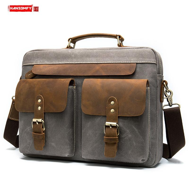 Fashion Retro Leather Men Handbag Canvas Business Briefcase Casual Shoulder Messenger Bag 14 Inch Laptop Bag Male Travel Bags