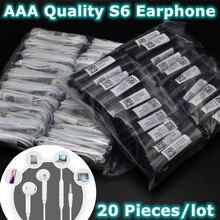 20 pçs/lote Fones de Ouvido Com Fio Para Telefones Com Microfone Controle de Volume Fone de Ouvido para Samsung iPhone Xiaomi S6 Fones de ouvido de Telefone Inteligente