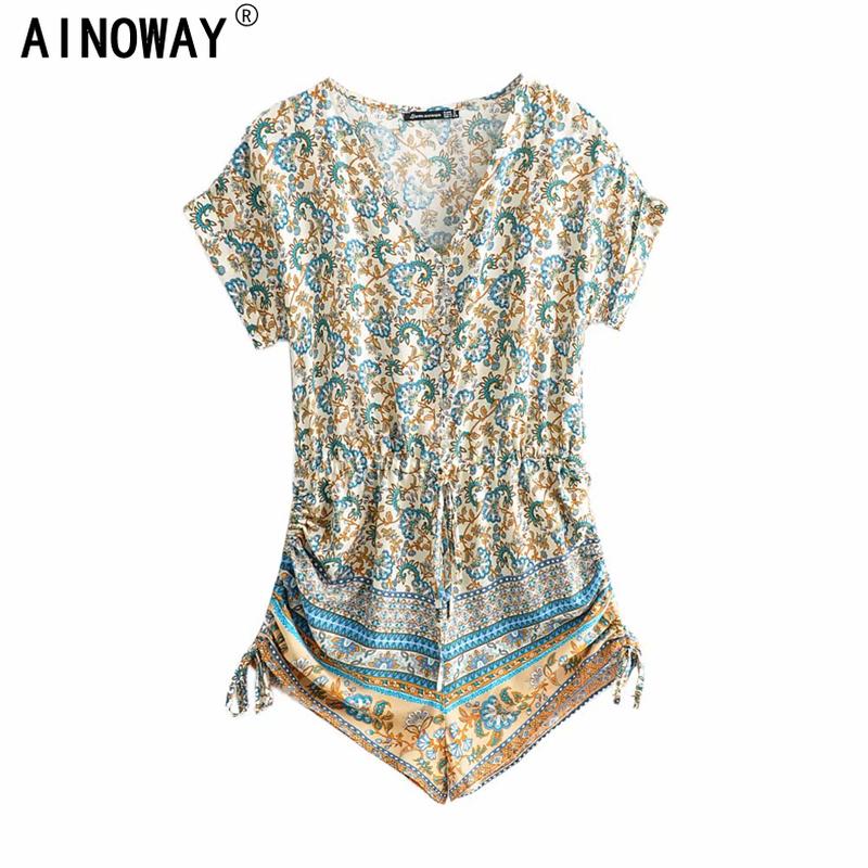 Vintage Chic Bohemian  Women  Floral Print elesticBoho Rompers Ladies V Neck short Sleeve Tassel Beach Jumpsuits Body Tops