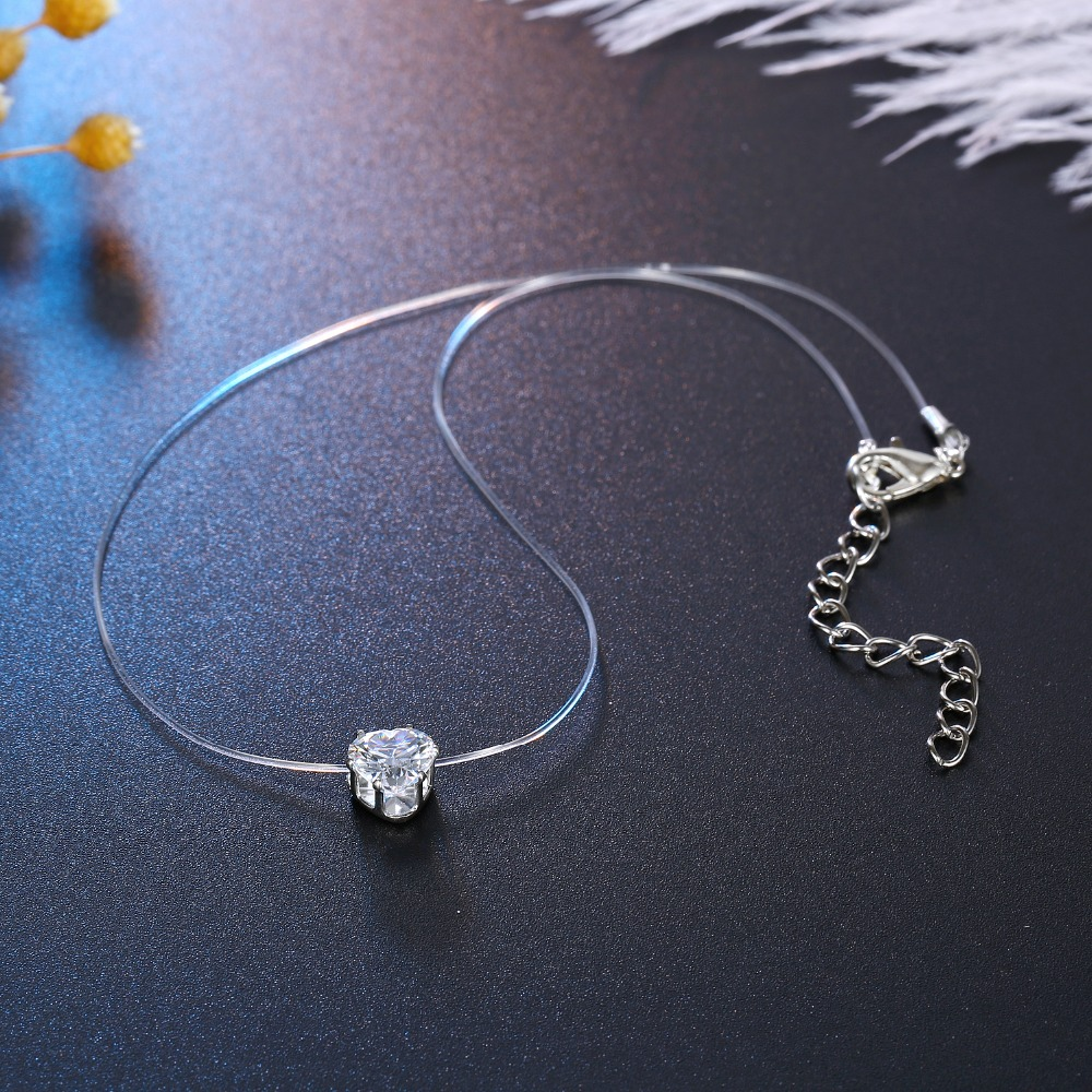 Trendy Wedding Heart Rhinestone Zircon Choker Necklaces Transparent Fishing Line Necklace Invisible Chain Necklaces Collier (2)