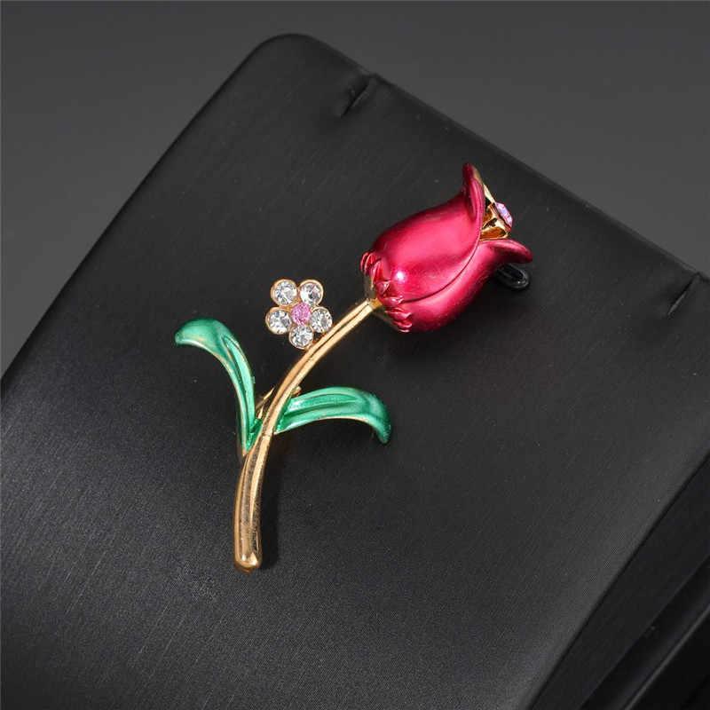 Terreau Kathy mode Rose fleur cristal broches pour les femmes 2019 robe écharpe broche broches bijoux beaux accessoires