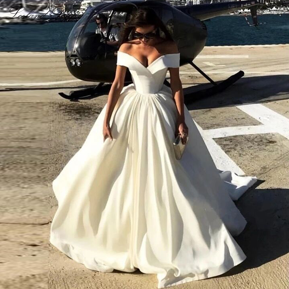 Lceland Poppy Vestido De Noiva A-line Satin Wedding Dresses 2020 Off The Shoulder Floor Length Sleeveless Bridal Gowns