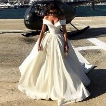 Lceland بوبي Vestido De Noiva a line فساتين الزفاف الساتان 2020 قبالة الكتف طول الأرض بلا أكمام زي العرائس