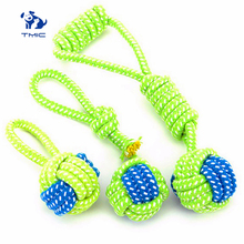 все цены на Pet Supply Dog Toys Dogs Chew Teeth Clean Outdoor Traning Fun Playing Green Rope Ball Toy For Large Small Dog Cat Toys