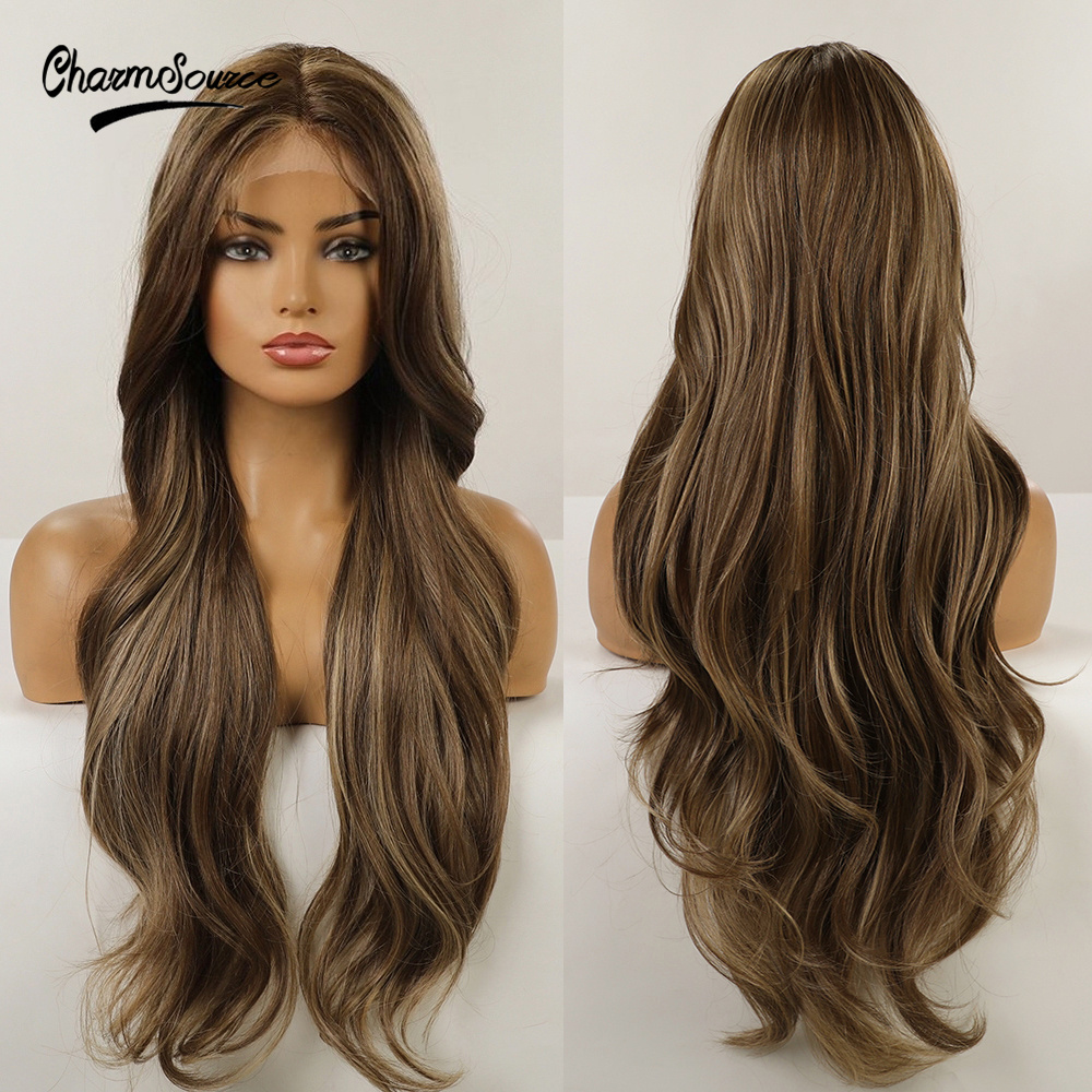 CharmSource Synthetic Front Lace Wig Long Wavy Brown Highlights Blonde Wigs for Women Daily Party High Density Heat Resistant