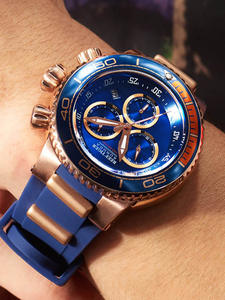 Reef Tiger/RT Top Brand Luxury Blue Sport Watch for Men Rose Gold Waterproof Watches