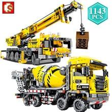 Sembo criador cidade engenharia bulldozer guindaste técnico carro caminhão escavadeira rolo blocos de construção tijolos construção brinquedos