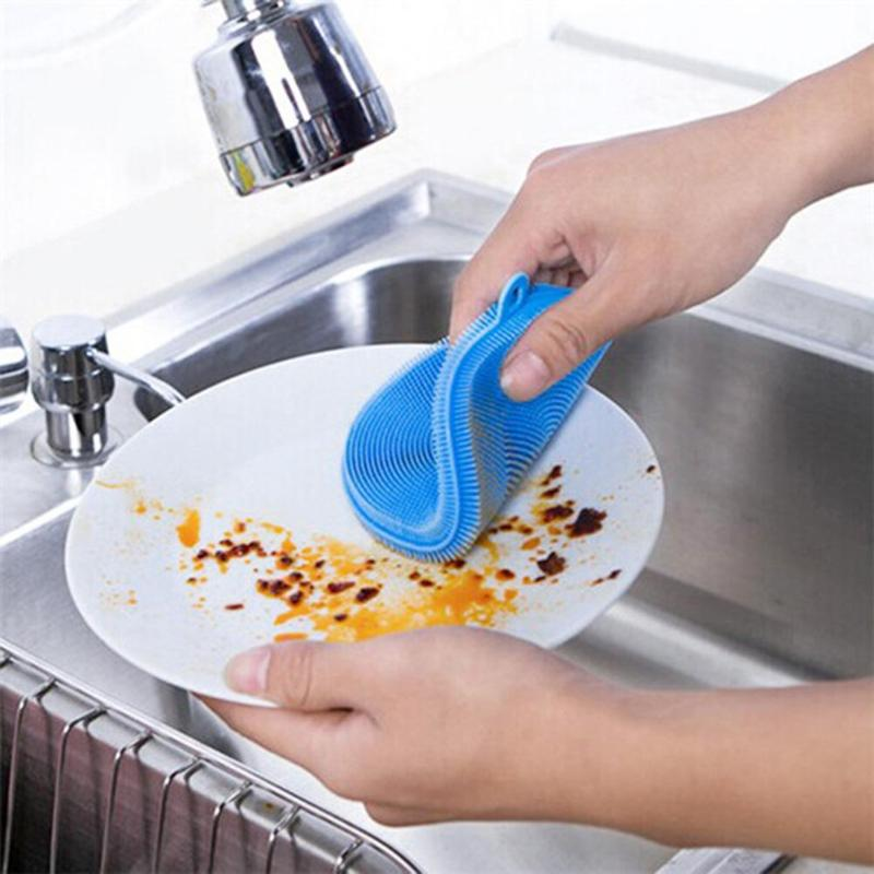 Scrubber Dish washing Silicone Washing Kitchen Dish Cleaning Bowl Cleaning Brush