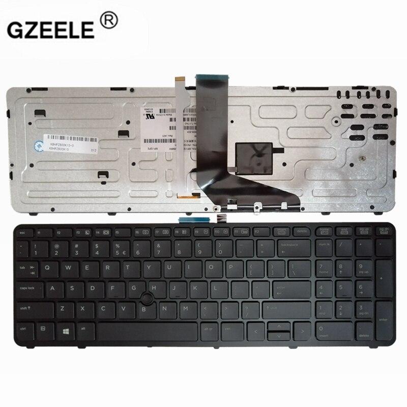 Bilgisayar ve Ofis'ten Yedek Klavyeler'de GZEELE yeni İngilizce laptop için arkadan aydınlatmalı klavye HP ZBOOK 15 17 G1 G2 PK130TK1A00 SK7123BL abd siyah çerçeve title=
