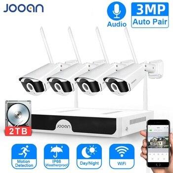 Sistema de CCTV inalámbrico Sistema de Vigilancia Kit de 3MP sistema de cámaras de seguridad para el hogar al aire libre WIFI cámaras grabación de Audio y vídeo