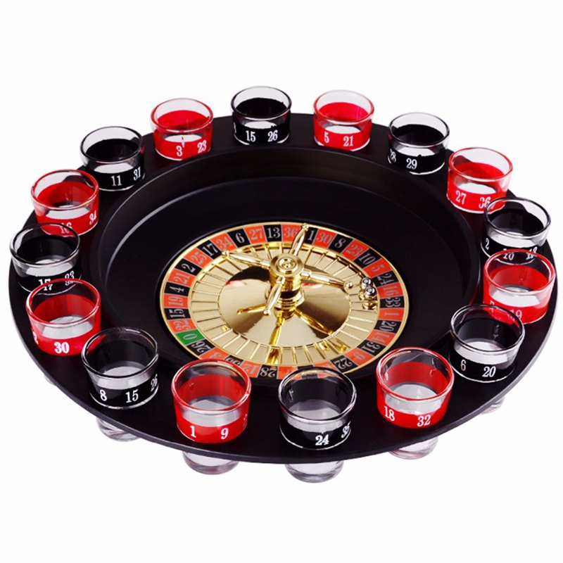 Novelty Creative Drink Turntable Toys Russian Roulette Wheel 16 Wine Cups Bar KTV Night Party Entertainment