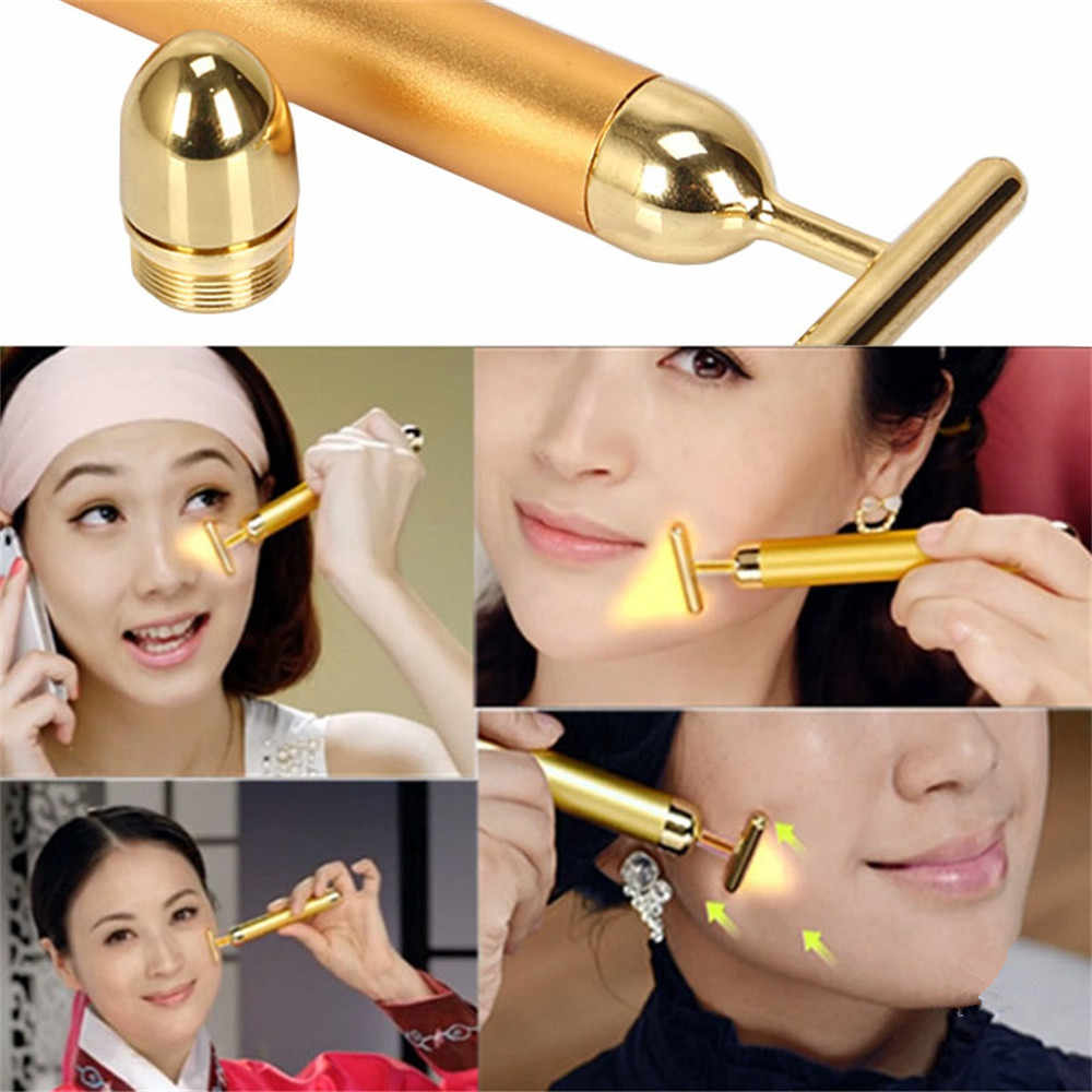 24K Gold Roller Vibrating Facial Massager Slimming Facial Skin Beauty Bar Pulse Firming Face Massage Lift Tightening Wrinkle Bar