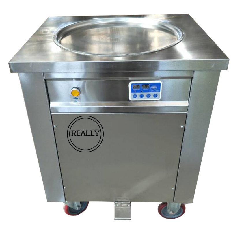 Factory Supply With Temperature Control Single Round Pans Fried Ice Cream Fruit Ice Cream Roll Fry Machine