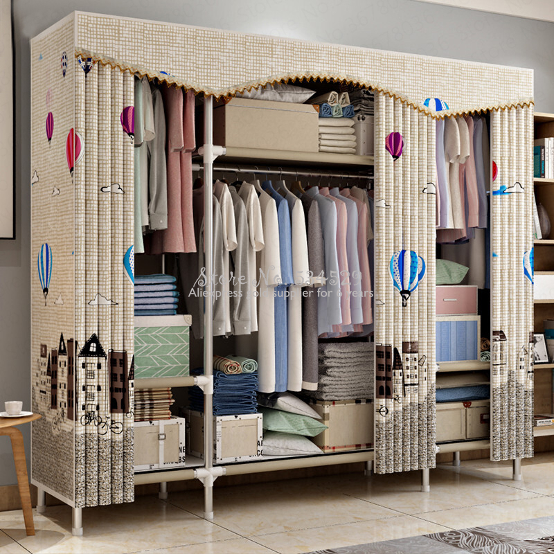 21%Cloth Wardrobe Steel Pipe Thicken Reinforced Double Cloth Simple Steel Frame Assembly Oxford Locker Hanging Wardrobe