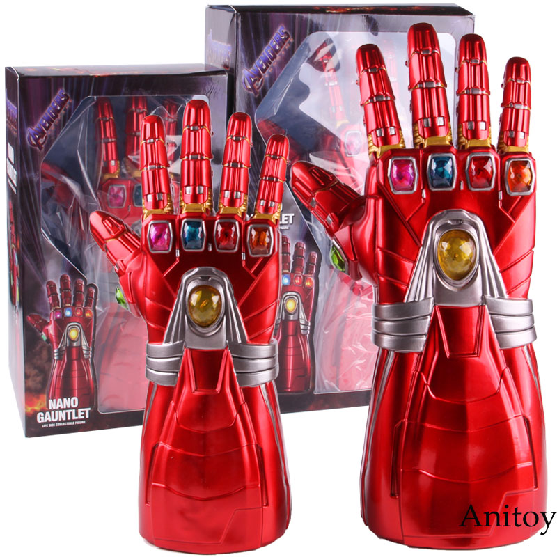 Avengers Endgame Iron Man Nano Gauntlet Infinity Glove 2 Size PVC Action Figure Collectible Model Cosplay Toy With LED Light