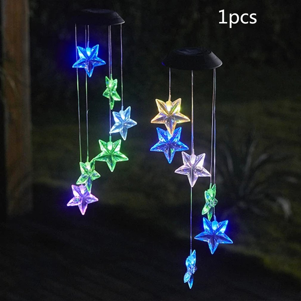 Led Solar-Powered Star Lights Solar Wind Chime Light Transparent Star Hummingbird Color Colourful Light