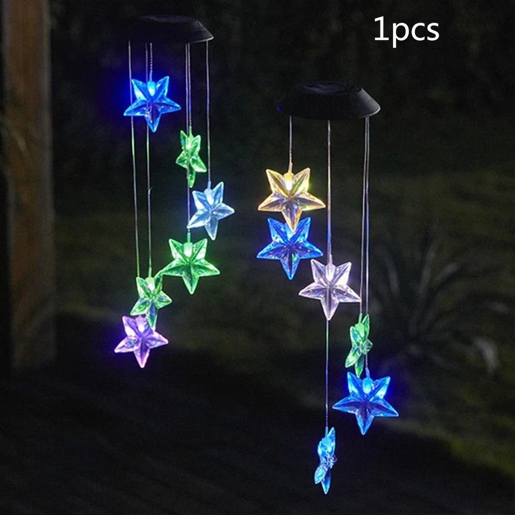 Led Solar-Powered Star Lights Solar Wind Chime Light Transparent Star Hummingbird Color Colourful Light
