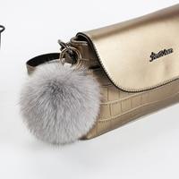 real fox fur pompom Key Chain for Car Key Ring Handbag Tote Bag Pendant Fluffy Fur Keychain Balls