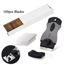 EHDIS Vinyl Wrap Sticker Cleaning Scraper With 100pcs Blades Car Window Tint Decal Razor Squeegee Carbon Foil Film Remover Tools