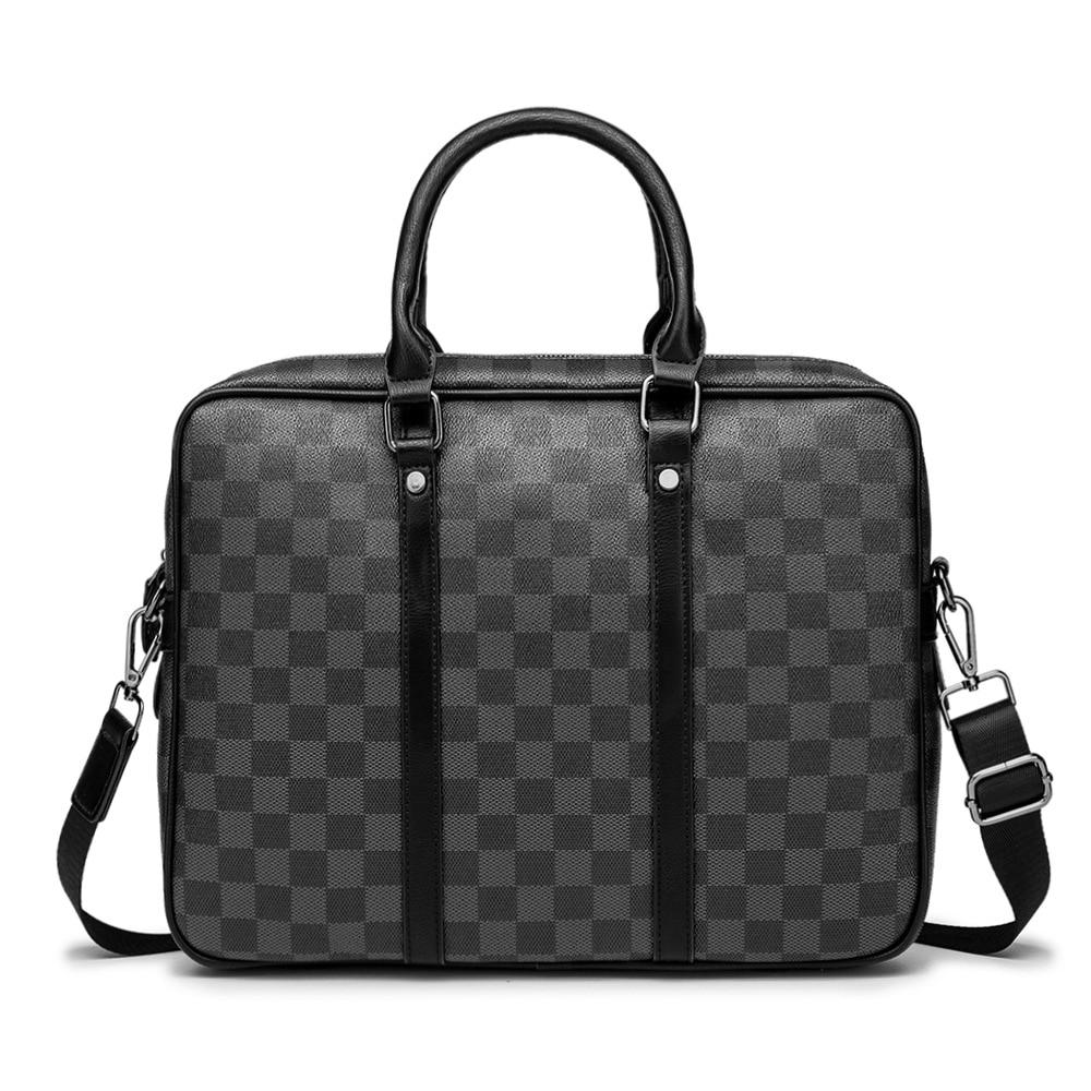 Plaid Large Pu Leader Laptop Bags For Men Office Handbags Black Brown Notebook Briefcase New Arrive 2020 Shoulder Bags Fashion