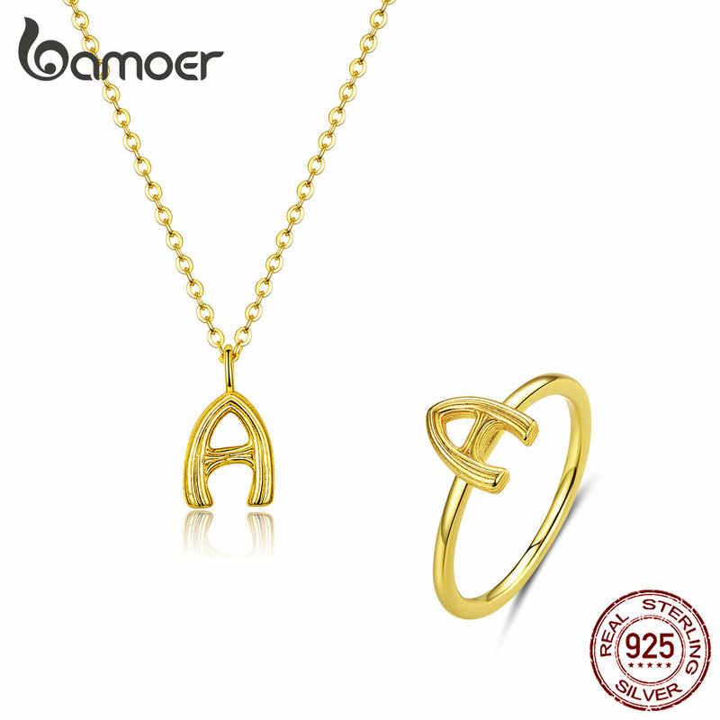 Bamoer véritable 925 en argent Sterling alphabet lettre une bague de doigt et pendentif collier ensemble de bijoux pour les femmes Fine bijoux GUS173