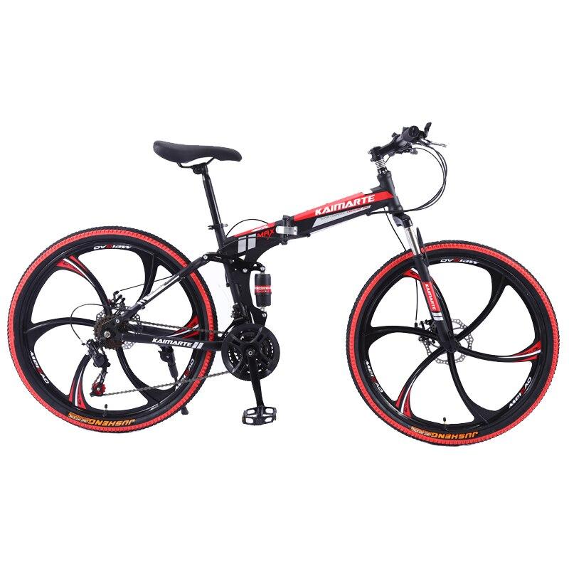 21 Speed Mountain Bike 24 26 Inch Carbon Steel Folding Bike Double Disc Brake Adult Bicycle 3/6 And 10 Knife Wheel Student Bike