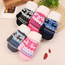 Перчатки милые рождественские лося для девочек, сохраняющие тепло вязаные кашемировые перчатки Весна Осень Новые Модные Простые перчатки больших размеров