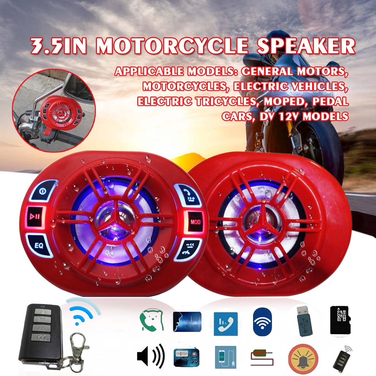 3.5 Inch Motorcycle Bluetooths MP3 Player Red Speaker Waterproof Burglar Alarm Active Call Telegraph Number FM Audio