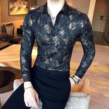 Casual Long sleeve Shirt for Men Dress Blouse Gold silk printed Social Luxury Mens White Black