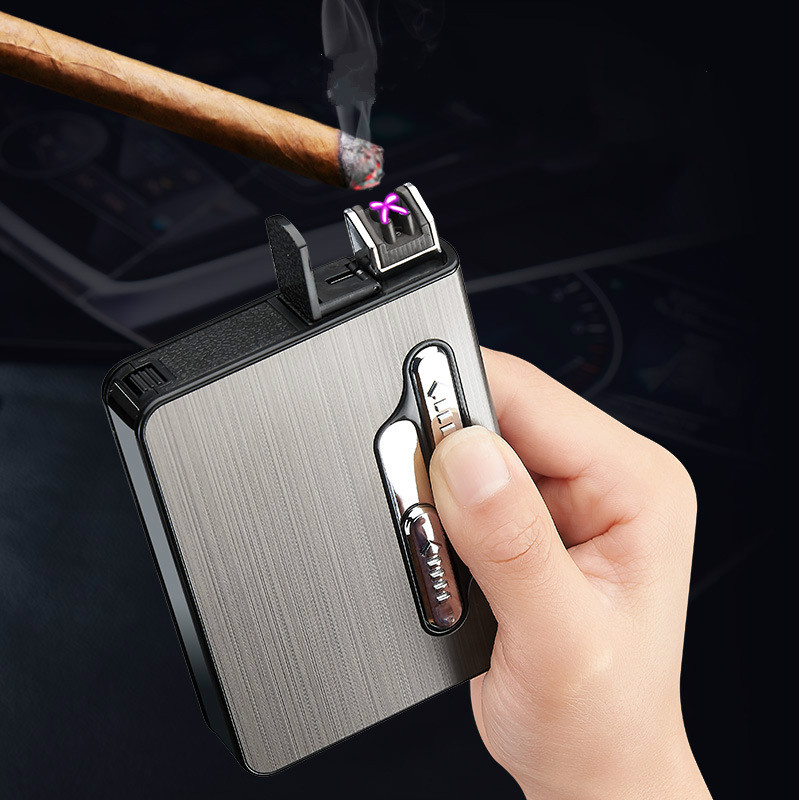 Portable USB Electronic Cigarette Case With Double Arc Lighter 12pcs Cigarette Box Holder USB Charging Lighter Gadgets For Men