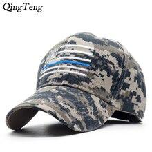 Thin Blue Line USA Flag Camouflage Caps For Men Women Camo B