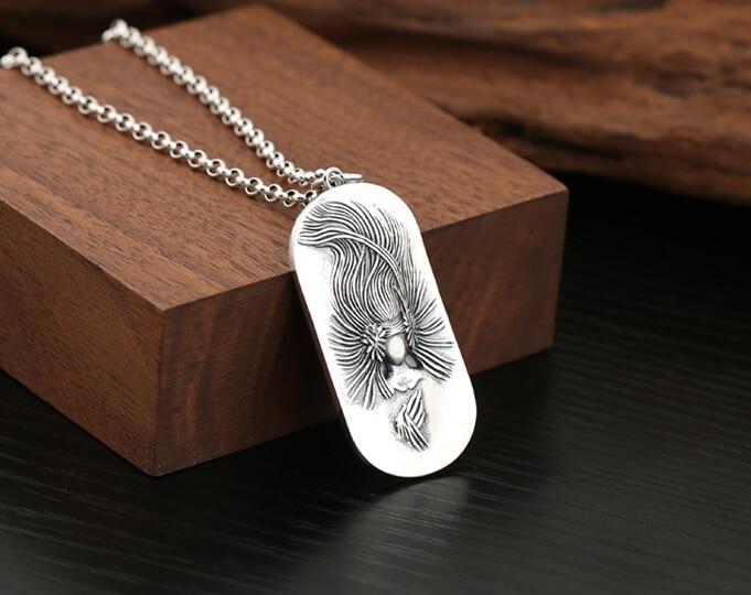Vente directe S925 argent Sterling rétro Thai argent simple paon Mingwang étiquette volante couple pendentif sans fret - 2