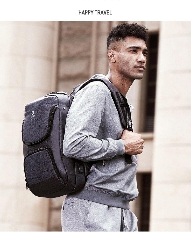 Ozuko multifunction masculino mochila de carregamento usb