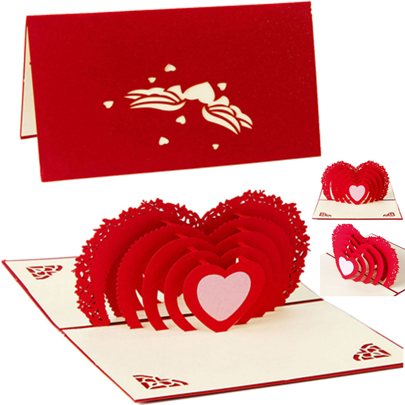 Handmade 3D Pop Up Heart Ship Wedding Birthday Holiday Christmas Greeting Cards