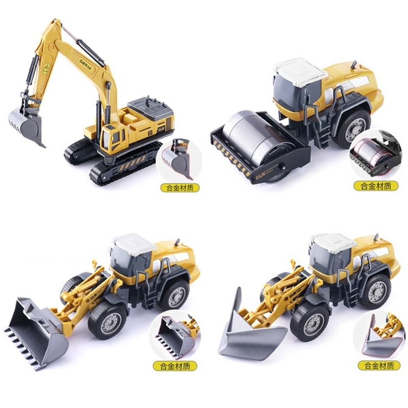 Zhenwei Die-cast  Car 1:55 Alloy Crane  Model Engineering Excavator Bulldozer Road Transport Truck Sliding Children's Toy Car