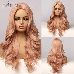 EASIHAIR Synthetic Hair Wigs for Women Long Light Pink Body Wavy Heat Resistant Cosplay Wigs Lolita Daily Fake Hair Middle Part