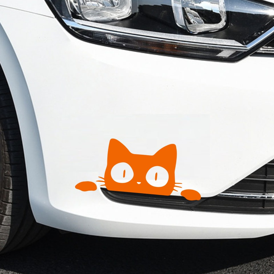 2pcs 14*6.2CM CAT FACE PEERING Funny Car Stickers waterproof cool decals for mazda toyota honda bmw image