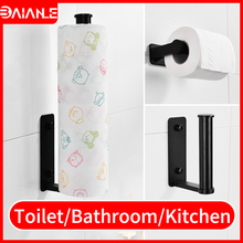Hanger Paper-Holder Bathroom Towel-Rack Tissue-Roll Wall-Mounted Kitchen Black Aluminum