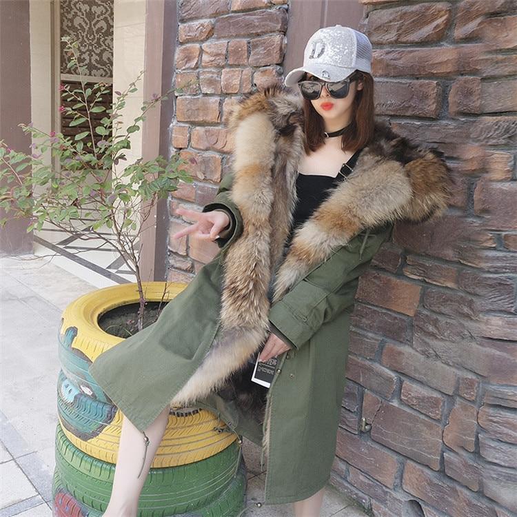 Moda mujer real conejo piel forro invierno chaqueta abrigo escorpión piel cuello desmontable con capucha larga ropa de diseñador DHL 5 7 - 6