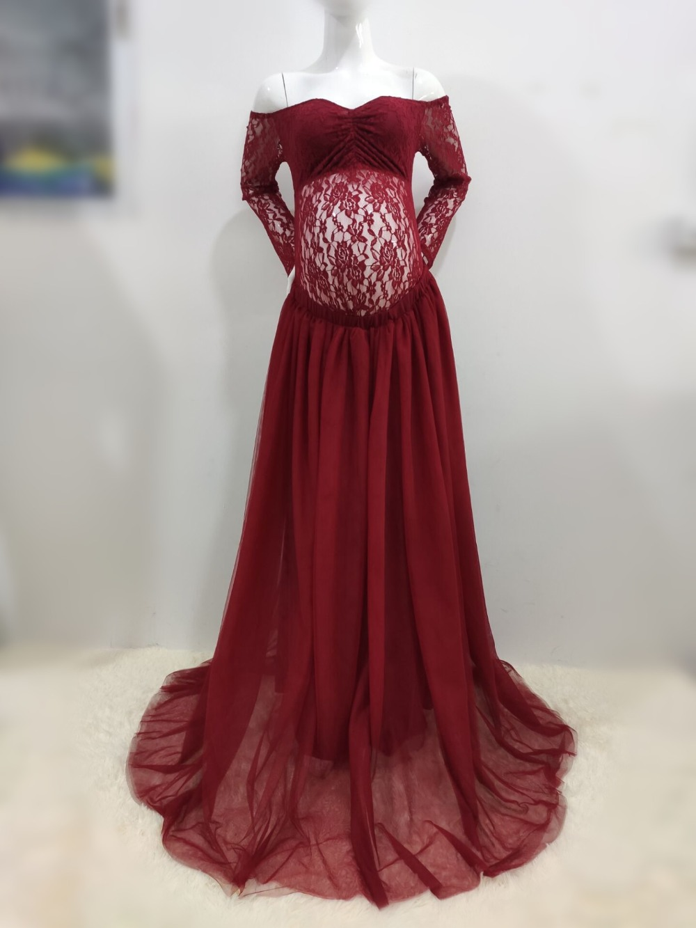 Sexy Lace Maternity Photography Props Long Dress Baby Shower Fancy Pregnancy Dress Photo Shoot For Pregnant Women Mesh Maxi Gown (16)