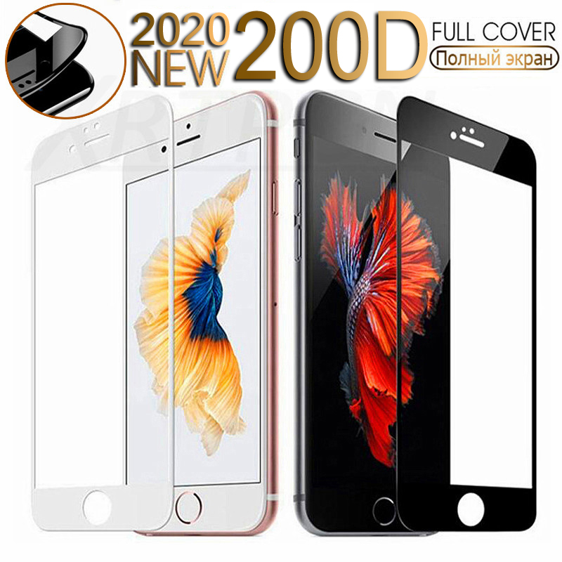 200D Curved Edge Tempered Glass For IPhone 7 6 6S 8 Plus X XS Glass On IPhone XR 11Pro Xs Max Screen Protective Safety Film Case